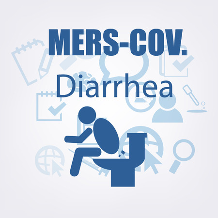 diarrhea illustration: MERS-COV or Middle East Respiratory Syndrome Corona Virus Symptoms with Infographics style.