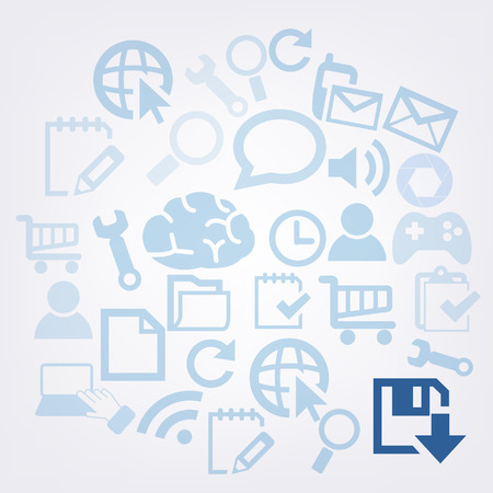 Save As icon on technology vector background Stock Photo