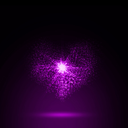 Abstract Heart shining on purple background