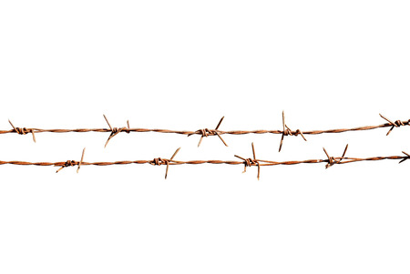 invade: Rusty barbed wire on white background