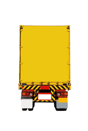 cargo container: Back side of truck parking on white background Stock Photo