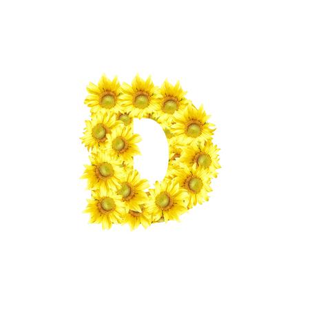 d: Sunflowers with alphabet letter D