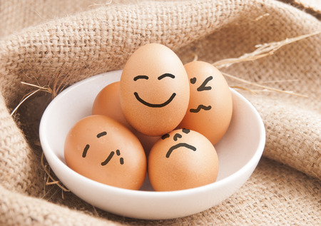 at rest: Eggs smiling , relax or rest concept Stock Photo