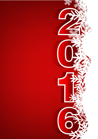 2016 on Christmas red background
