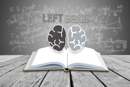 Open book with LEFT BRAIN analyzed concept Stock Photo