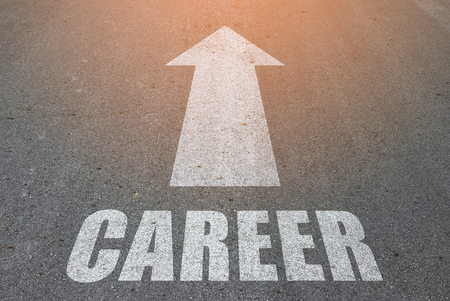 pathway: New Career concept on the road surface background