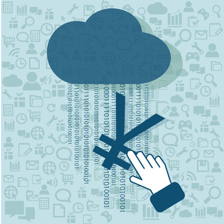 yuan: Hand click Yuan symbol on Cloud Computing with technology vector background