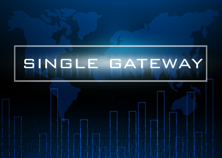 gateway: Single Gateway on digital blue abstract technology background