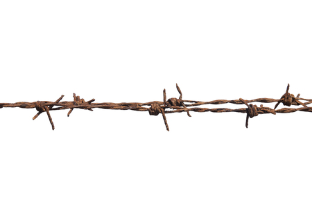 rusty: Rusty barbed wire isolated