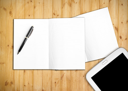 blank page: Blank page on wooden background Stock Photo