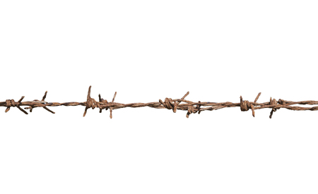 invade: Rusty barbed wire isolated