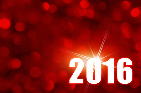 Happy New Year 2016 design with red bokeh background