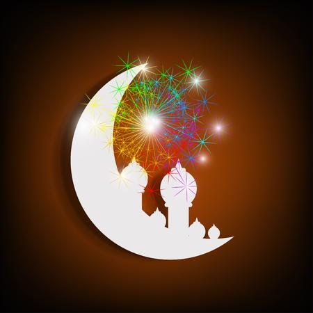 festival occasions: Moon for Muslim Diwali festival, Eid Mubarak.