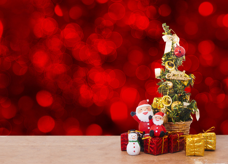 christmas tree decoration: Christmas Tree Decoration on abstract red background