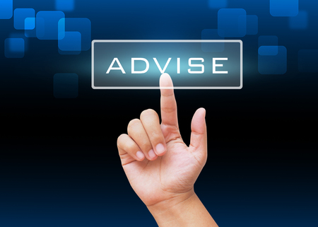 advise: Hand pressing Advise button with technology background