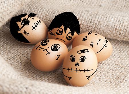cartooning: Cartooning on eggs ,devils on Halloween concept