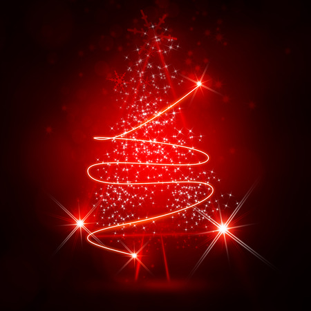 Red Christmas tree with sparkle light background.