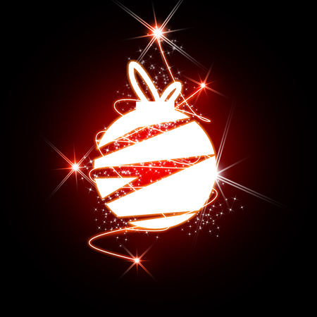 Red Christmas ball with sparkle light background.