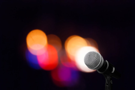 ourdoor: Microphone isolate on ourdoor background Stock Photo