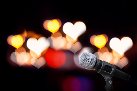 Microphone isolate on ourdoor background Stock Photo