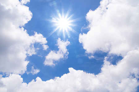 Cloud scape and sunshine with blue sky background