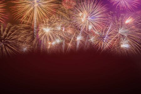 Colorful of fireworks in Happy New Year 2020 holiday festival