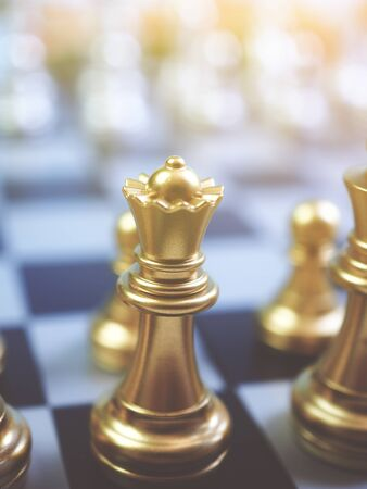 Chess game ,fighting for leader of business marketing competition concept