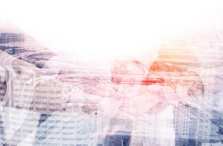 Double exposure of abstract technology and transportation business concept with aerial view background