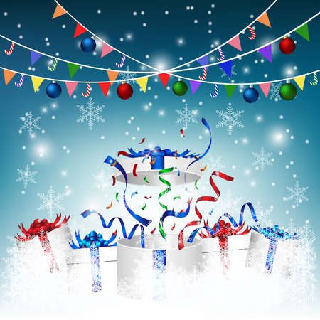 Gift box with Christmas  ornament for celebrated in New Year in 2021 party with winter background