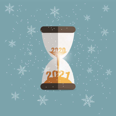 2020 Sand clock count down for Christmas new year 2021 design with snowflakes on winter background, flat vector design.