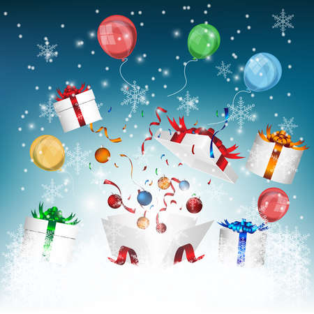 Gift box opening for celebrated in New Year party with winter background