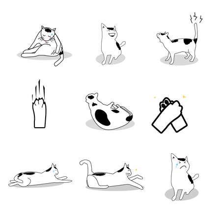 Cute cartoon lovely Cat sketching symbol in holiday activity isolated on white background ,love and care concept