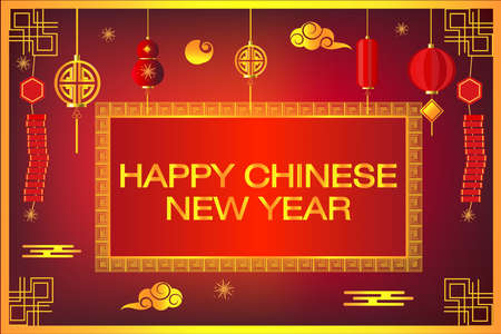 Happy Chinese new year on red background,decorative classic festive for holiday,Traditional lunar year with hanging lanterns traditional style Фото со стока