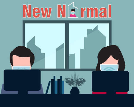 People wearing mask when working in office company for new normal concept Фото со стока