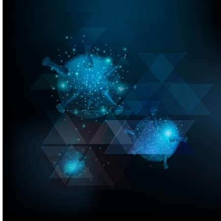 Virus cells ,corona virus or covid 19 ,Hepatitis viruses, influenza virus flowing on blue background ,Viral disease outbreak.
