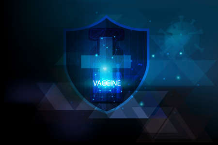 Protective symbol on world map for report a protection of Corona Virus Case on blue futuristic background ,Viral disease outbreak concept