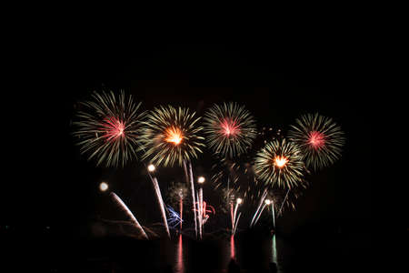 Colorful of fireworks for 4th July national holiday festival,independence day concept Фото со стока