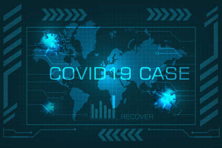 Covid 19 case update data in  design for report new case and recover Corona Virus on futuristic background ,Viral disease outbreak