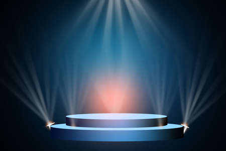 The concert stage theater with flood lights and abstract empty floor showcase spotlights on stage background. Фото со стока