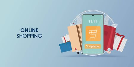 Online shopping on mobile application, Shopping vector, Vector Concept Marketing and Digital marketing, Shopping vector illustration.