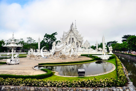 Chiang Rai,Thailand.- May 9, 2013 : This magnificent temple is a bizarre blend of traditional Thai architecture and the surreal. well-known among foreigners as the White Temple.