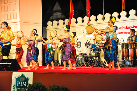 """reign: Lopburi, Thailand.- February 21, 2014 : The cultural drum dance show in the event """"King Narai Reign Fair 2014"""" take place in the Narai Ratchaniwet,on February 21, 2014 in Lopburi, Thailand."""