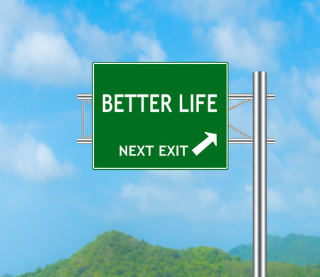 better days: Road Sign concept to BETTER LIFE and Sky background.