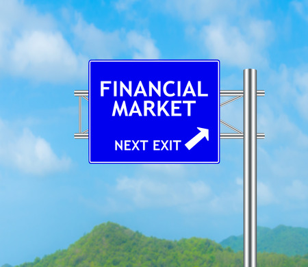 financial market: Road Sign concept to FINANCIAL MARKET and Sky background.