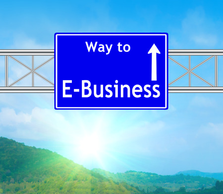 E-Business Blue Road Sign concept with resplendent clouds and sky. photo