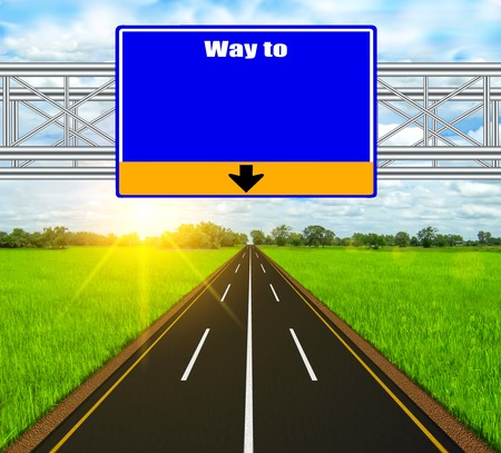 Blue Road Sign concept way to on soft naturall landscape background. photo