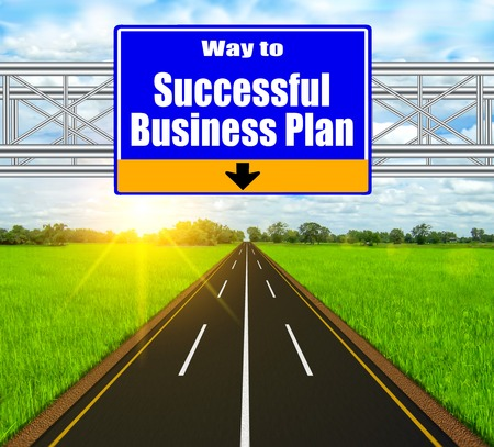 Blue Road Sign concept Successful Business Plan on soft natural landscape background. photo