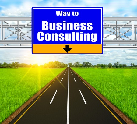 Blue Road Sign concept Business Consulting on soft natural landscape background. photo