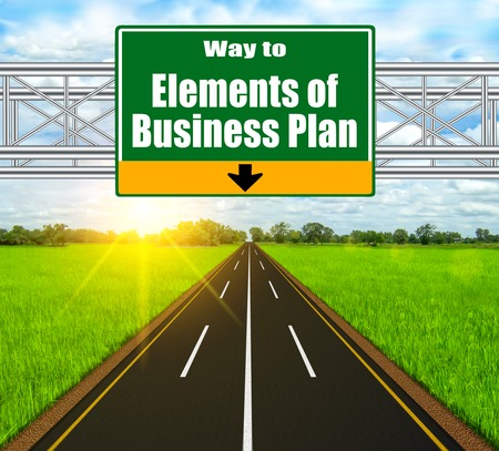 Green Road Sign concept Elements of Business Plan on soft natural landscape background. photo