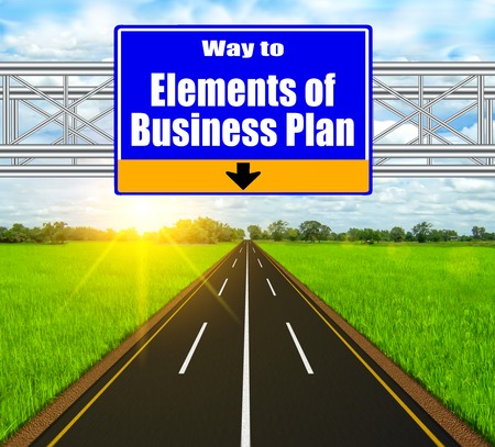 Blue Road Sign concept Elements of Business Plan on soft natural landscape background. photo